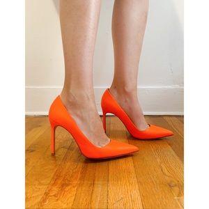 $800 Manolo Blahnik orange neon bb pumps 37 heels